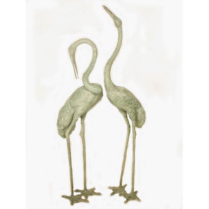 Pair of Bronze Cranes - Bird Statues - Set of 2