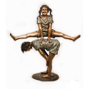 Boy & Girl Playing Leap Frog - Bronze Children Statues