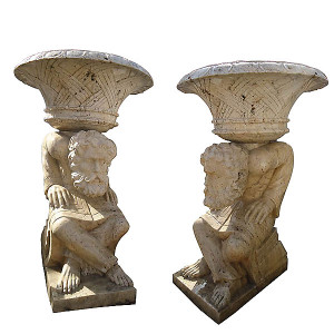 Pair - Marble Head Planters - Egyptian Beige