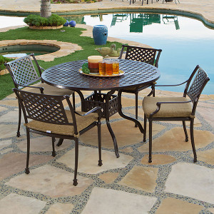 Savannah Outdoor Aluminum Round Dining Table Set of 5 (KIT)