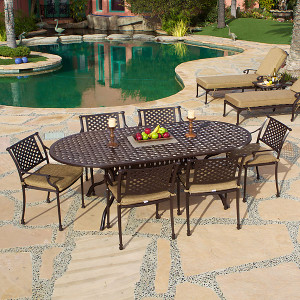 Savannah Outdoor Aluminum Oval Dining Table Set of 7 (KIT)