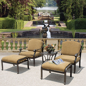 Savannah Outdoor Aluminum Club Chair Set of 5