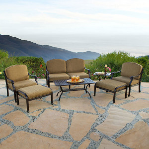 Savannah Outdoor Aluminum Deep Seating 7 Piece Set