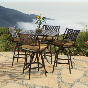 Savannah 5pc Bar Table Set w Barstools Outdoor Patio Furniture