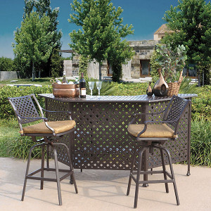 Savannah 3pc Bar w Barstools Set Outdoor Patio Furniture