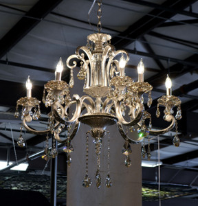 Hollywood Brush Silver Chandelier 9 Light