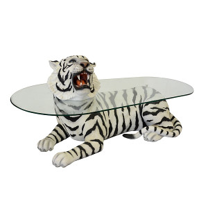 "28.25""H Lying Tiger Statue Table With Glass Fiberglass Novelty Collectable Decor"