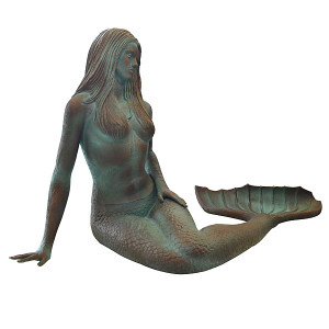 "35""H Mermaid Patina Patina Fiberglass Novelty Collectable Decor"
