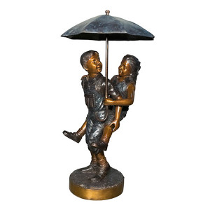 Boy and Girl with Umbrella Fountain