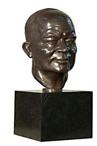 "16""H Eisenhower Bust On Marble Base Statue Brown Bronze Garden Sculpture"