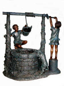 Boy at Wishing Well Fountain - Bronze