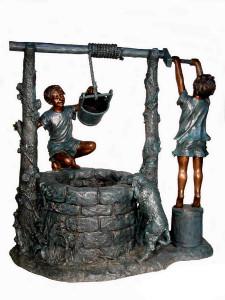 Boy at Wishing Well Fountain - Bronze