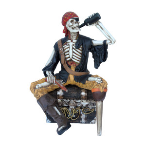 "51.5""H Skeleton Pirate On Treasure Chest Fiberglass Novelty Collectable Decor"