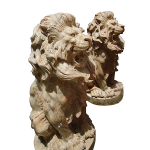 Pair - Sitting Lions in Carved Marble Entry Statues