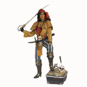 "76""H Female Pirate Fiberglass Statue Novelty Collectable Decor"