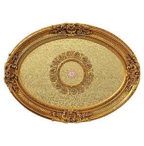 Golden Rocaille Oval Ceiling Medallion 43""