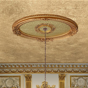 Golden Rocaille Oval Chandelier Ceiling Medallion