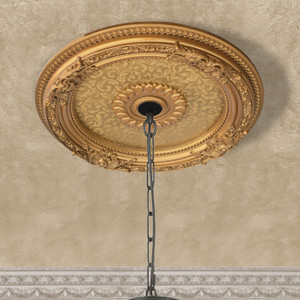 Golden Leaf Chandelier Ceiling Medallion 24in