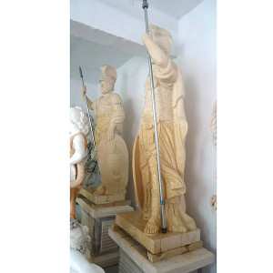 Pair - Huge Marble Warrior Statues - Beige Marble