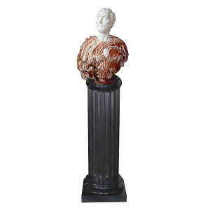Bust on Pedestal - Multi Color Marble