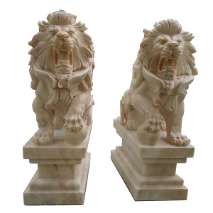 Pair - Sitting Marble Lions - Carved Sun Glow Marble - Entry Statues