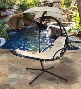 Sky Lounger Beige Hanging Outdoor Patio Seating