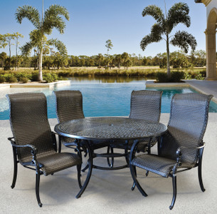 Wyndermere Woven Outdoor Round Dining Table Set of 5 (KIT)