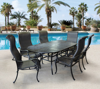 Wyndermere 7pc Oval Dining Set Outdoor Patio Furniture