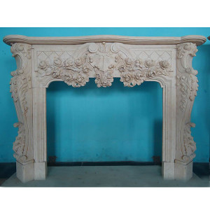 Mantle - Carved Marble Fireplace Mantel - Beige Marble  (42x36.5)