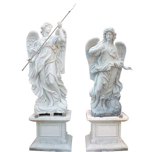 Pair - Angel Statues on Pedestal White Marble