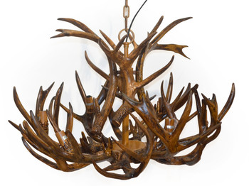 "NEW 40""DIA Rustic Six Light Faux Deer Horn Antler Candelabra Pendant Chandelier"