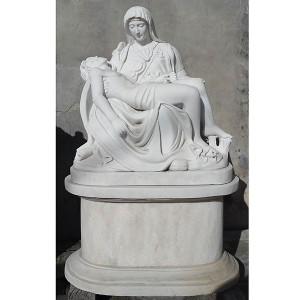 Pieta on Base -White Marble