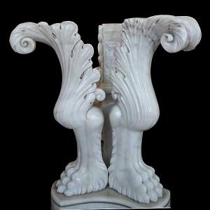 Fleur De Lis Vase White Marble