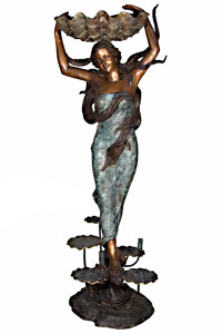 Standing Lady Holding Shell - Bronze Statue or Fountain