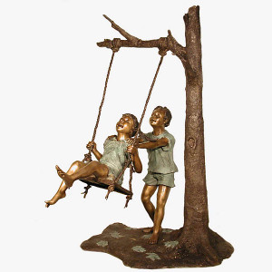 Boy & Girl On Swing - Bronze