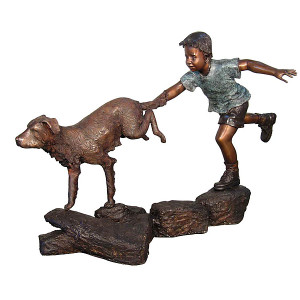 Boy Running w/ Dog - Bronze