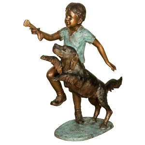 Boy Giving the  Dog a Bone - Bronze