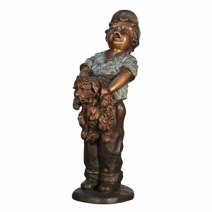 Boy Holding Puppy - Bronze