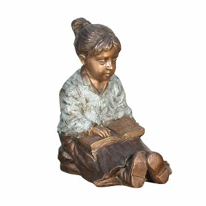 Girl Reading Book - Bronze