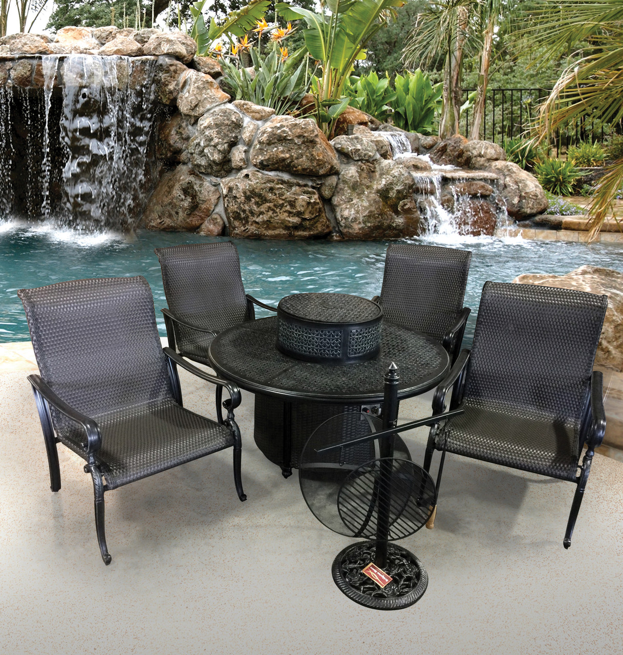 Image of: Wyndermere All Inclusive Outdoor Gas Firepit Club Table Set Kit World Of Decor