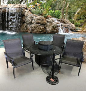 Wyndermere 6pc Firepit Table w Club Chair Set Outdoor Patio Furniture