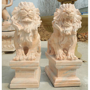 Pair - Sitting Lions on Base - Carved Beige Travertine Marble 15321