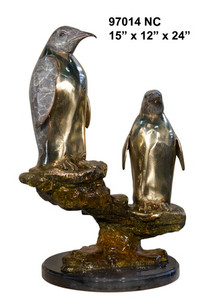 "24""H Two Penguins On Marble Base In Special Patina Bronze Statue/Marble Garden"