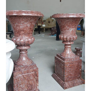 Pair -Urns on Base -Red Marble