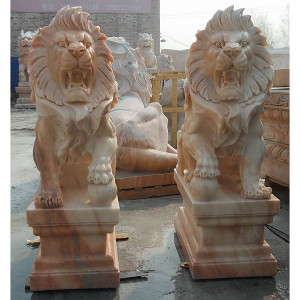 Pair of Sitting Lion on Base -Beige Marble