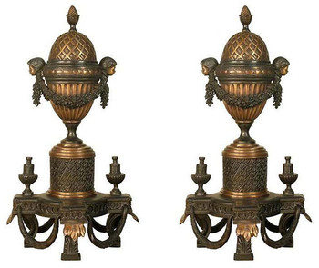 Bronze Andiron Louis XIV - Set of 2 - Bronze Accessories
