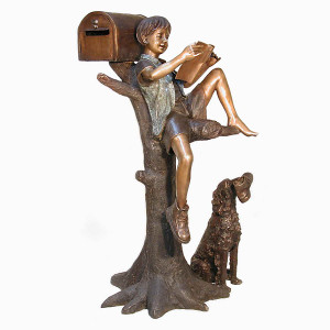 Boy on Tree with Mailbox