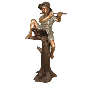 Boy Playing Flute in Tree - Bronze Children Statue