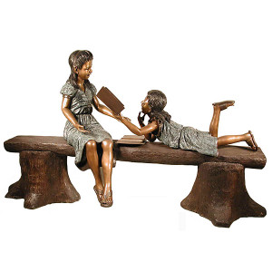 Bronze Girl and Boy Reading on Bench