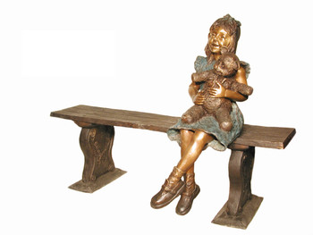 "46""H Girl With Bear On Bench Bronze Statue Garden Sculpture"
